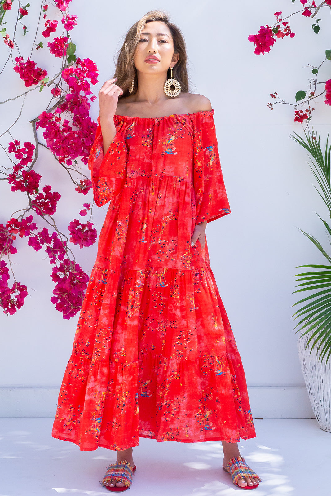 Lulu Liberty Sunset Red Maxi Spring Dress
