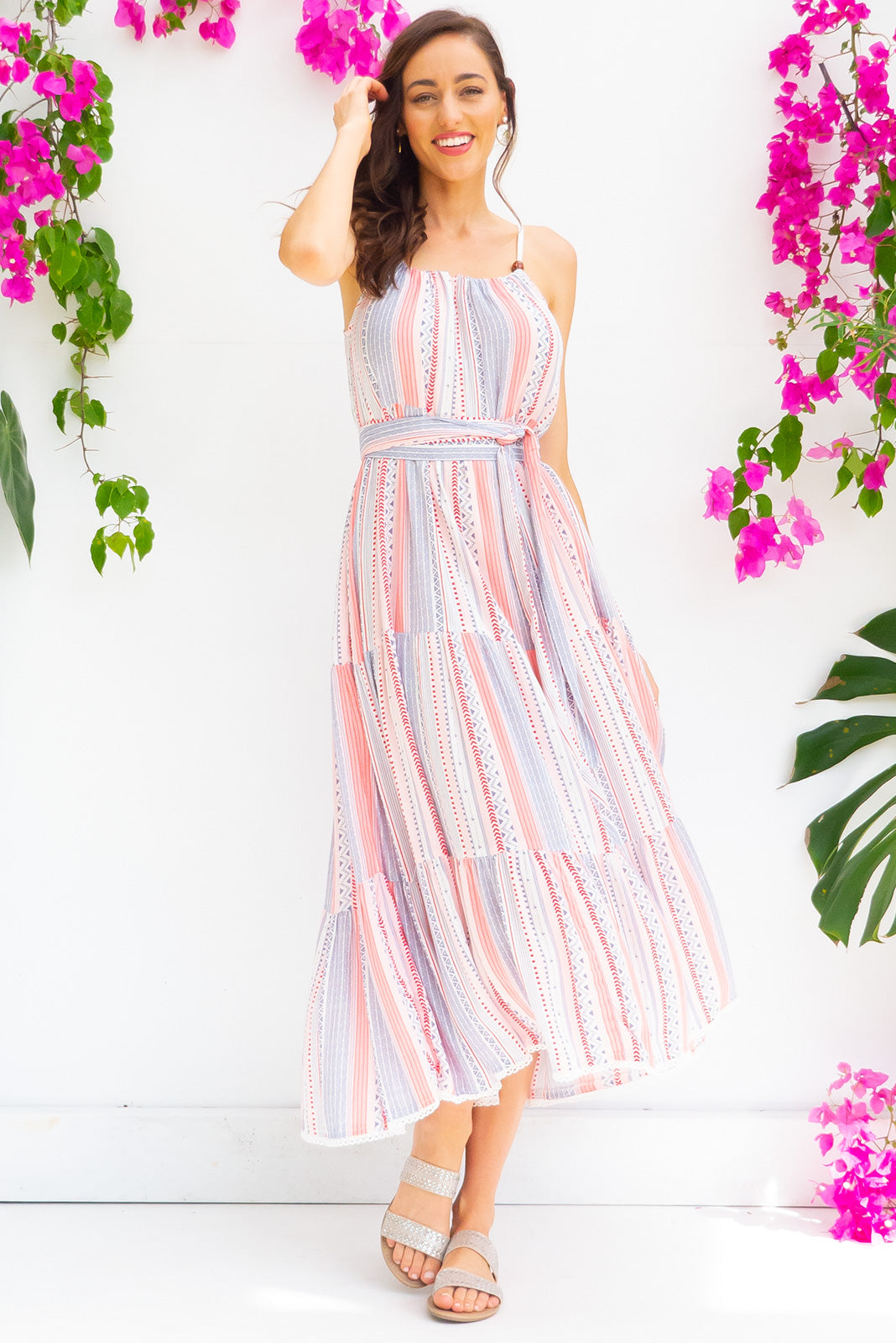 Lulu Loves Cool Stripe Maxi length crinkle rayon tiered dress with a adjustable neckline, side pockets in a gorgeous pink, blue and white stripe