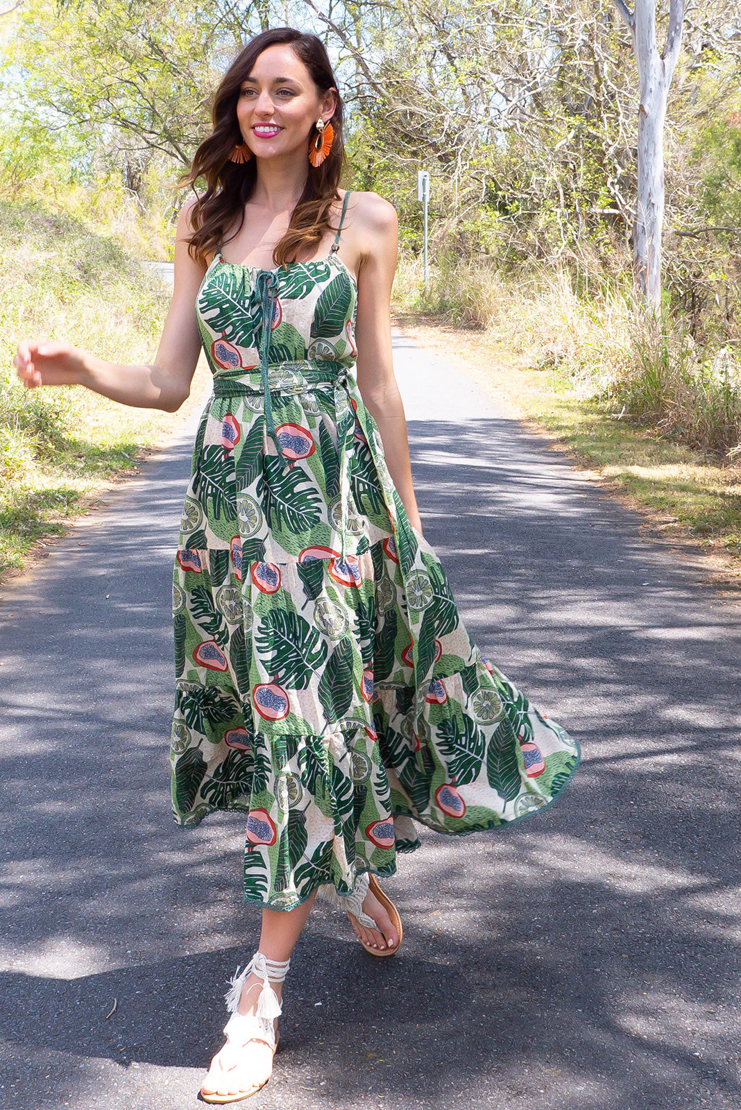 Lulu Loves Tropical Fruit Maxi length cotton rayon blend tiered dress with a adjustable neckline, side pockets in a fun tropical fruit print