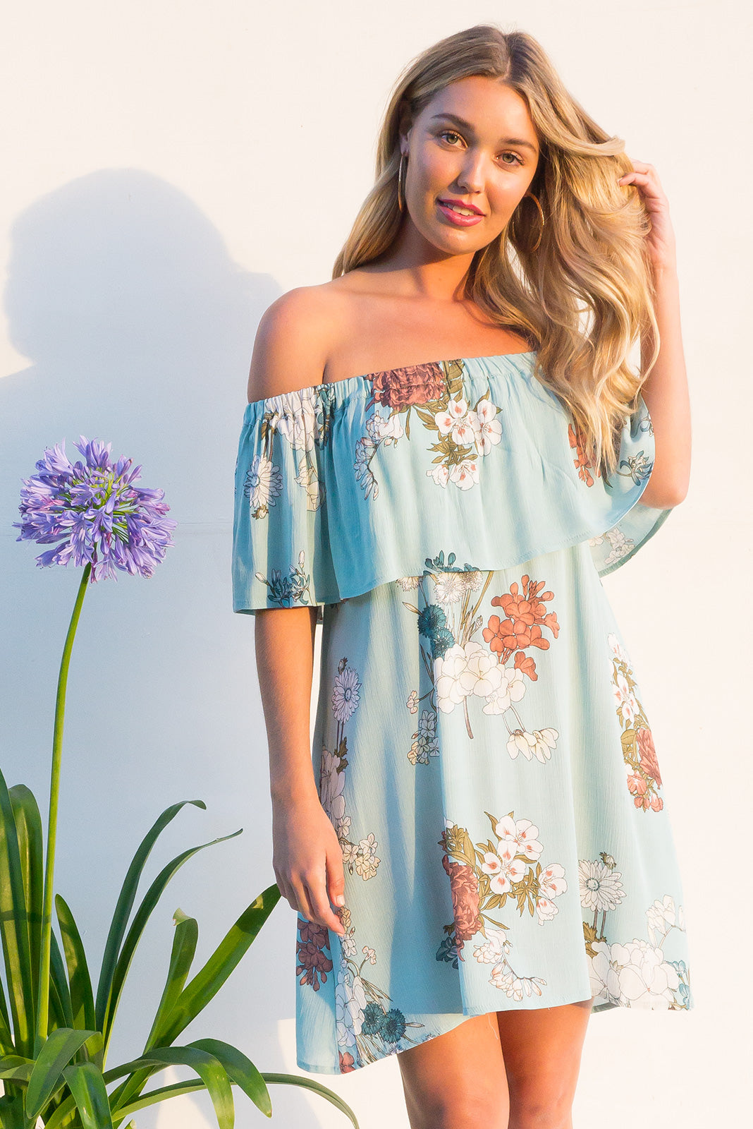 Macarena off the shoulder mini dress in a soft tiffany blue botanical floral print on soft crinkled rayon