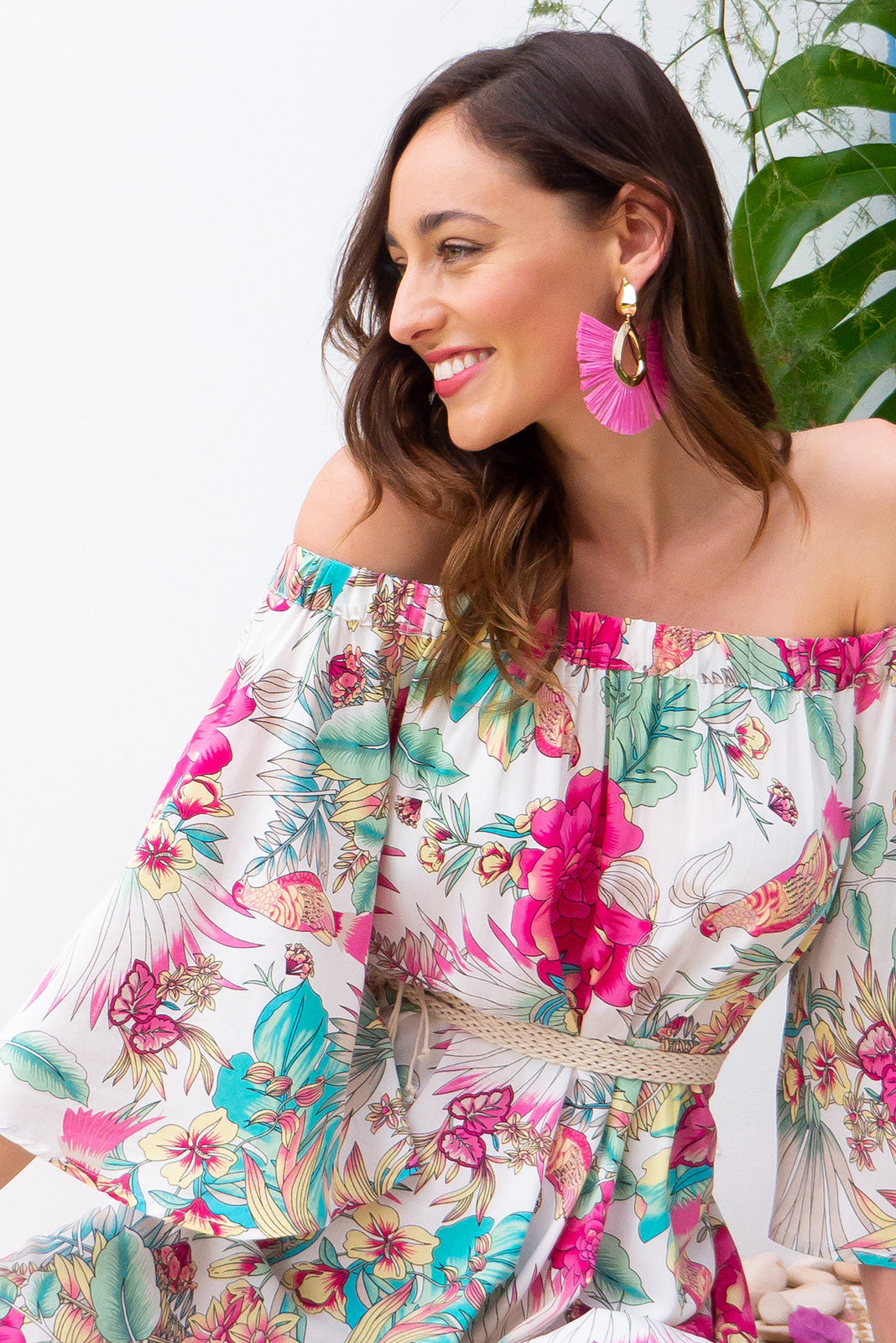 Mai Tai Bird of Paradise Off the shoulder dress in soft cream tropical print on woven rayon with pockets