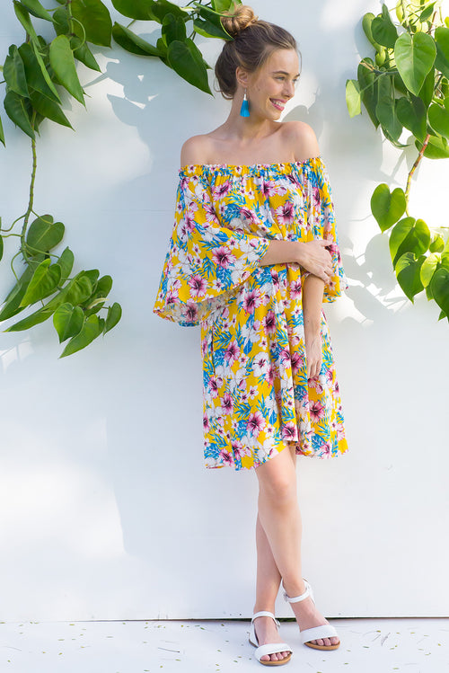 Mai Tai Hibiscus Yellow Dress
