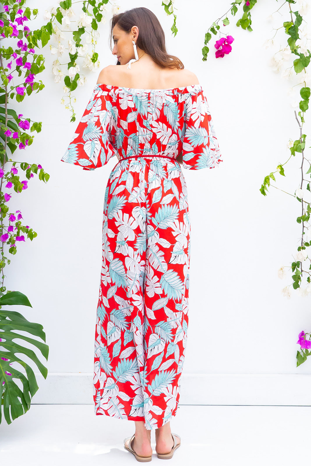 Malibu Rhonda Red Jumpsuit off the shoulder soft fit maxi jumpsuit with an elastic waist in a bright red tropical leaf print on 100% rayon with side pockets