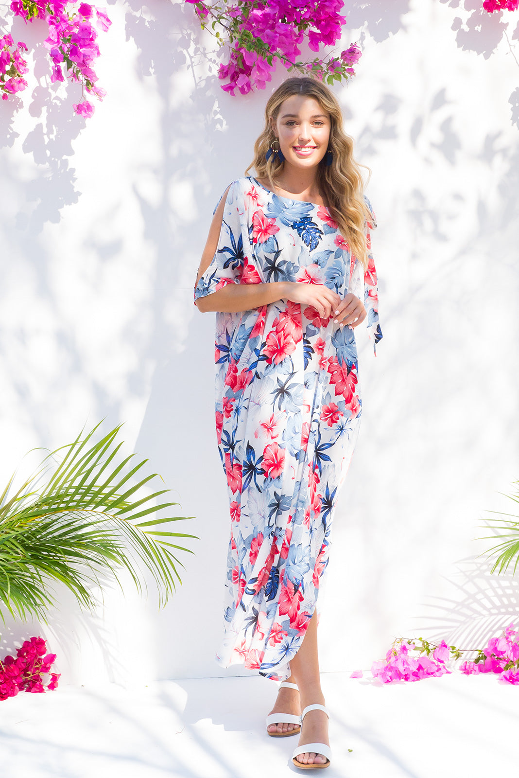 Margarita Maui Kaftan Dress with Hibiscus Print
