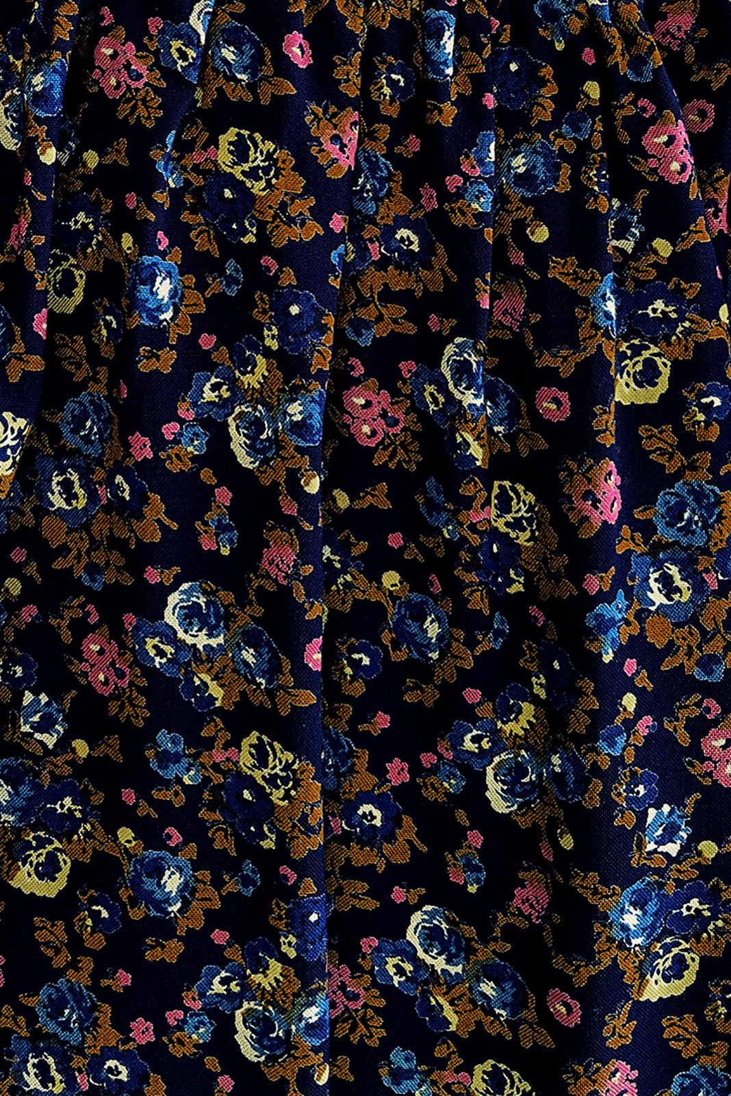 Fabric Swatch of Mariette Melody Navy Dress featuring woven 100% rayon in navy base with sweet blue floral print.