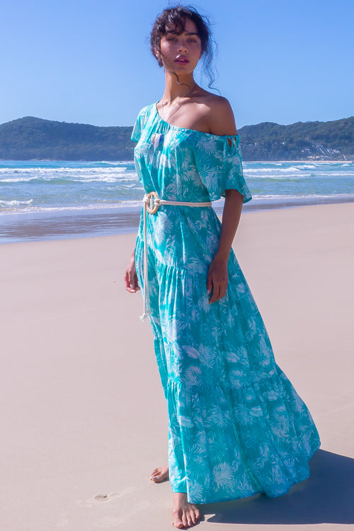 Marina Seafoam Palms Maxi Dress