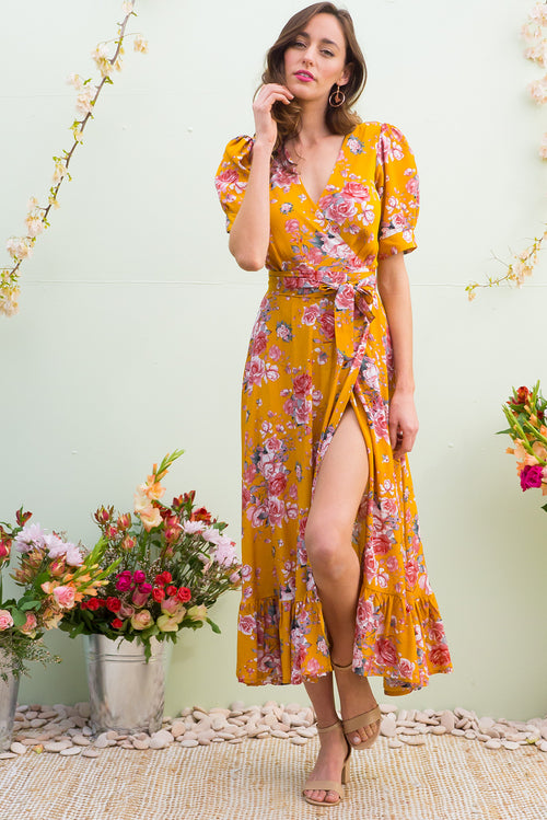 Martinique Golden Garden Maxi Wrap Dress