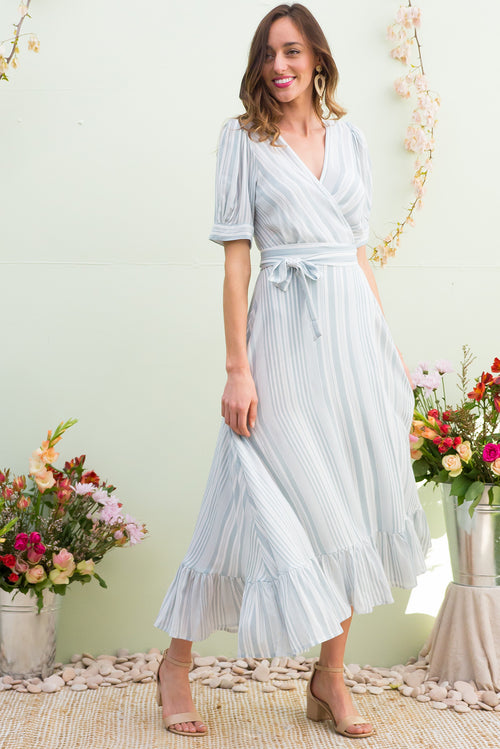 Martinique Sage Stripe Maxi Wrap Dress