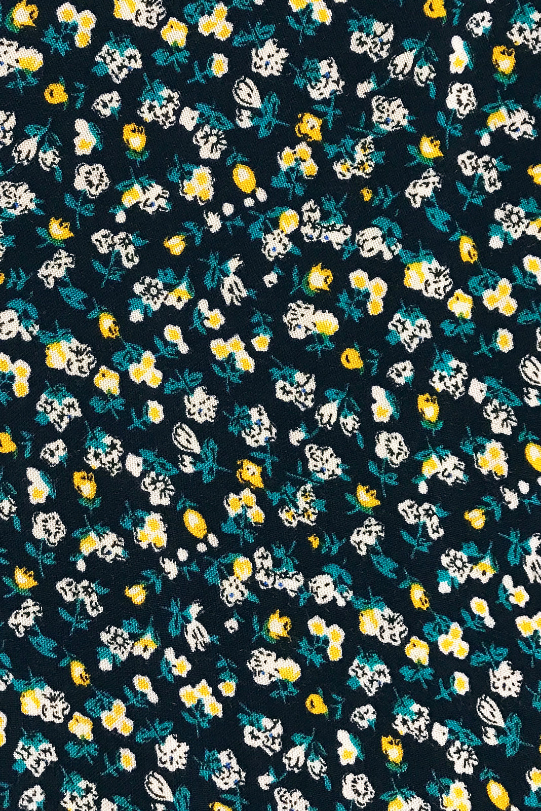 Fabric Swatch of Mayfair Mystery Noir Dress featuring rayon in  Ink black base with vintage inspired floral print.