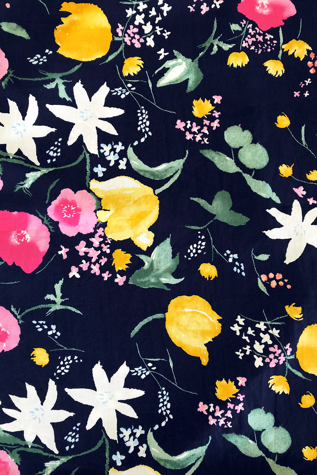 Fabric swatch of Midsummer Emilia's Garden Dress featuring 100% cotton poplin in navy base with bright, retro floral print.