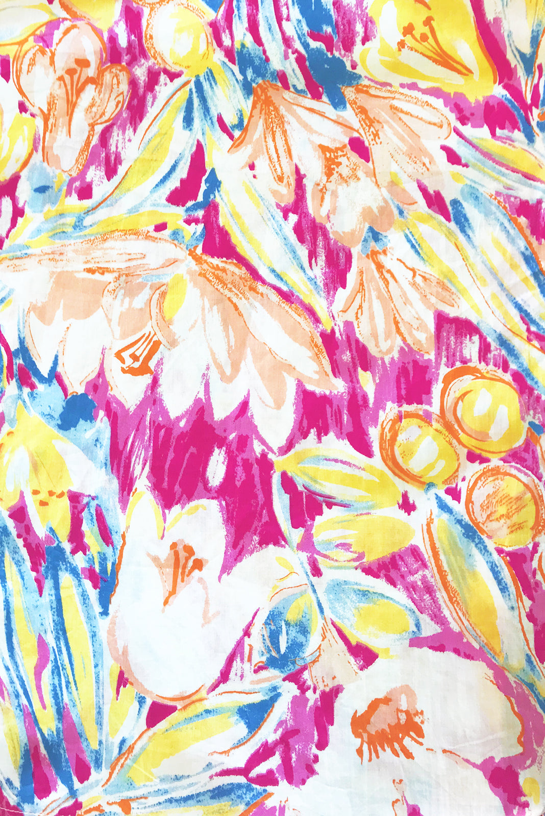 Fabric swatch of Midsummer Monet Pink Dress featuring  100% cotton poplin in pink, orange, yellow, white and lilac abstract floral print.