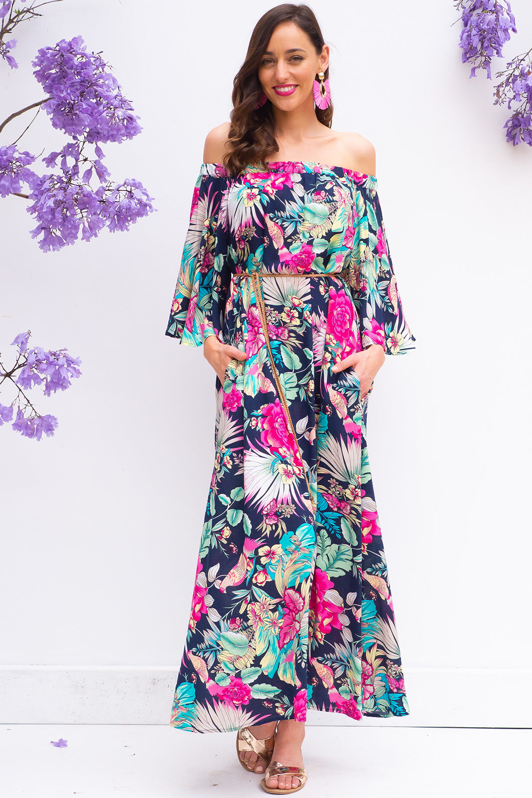 Mimosa Bird of Paradise Maxi Dress off the shoulder soft fit maxi dress in a bright navy tropical leaf floral print on 100% rayon with side pockets