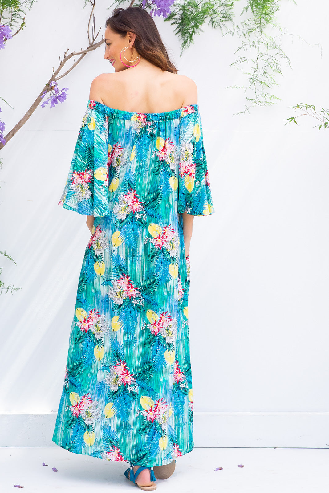 Mimosa Blue Waterfalls Maxi Dress off the shoulder soft fit maxi dress in a bright tropical inspired print on 100% rayon with side pockets
