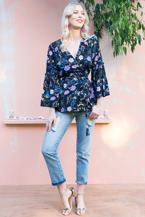 Monterey Floral Black Wrap Top