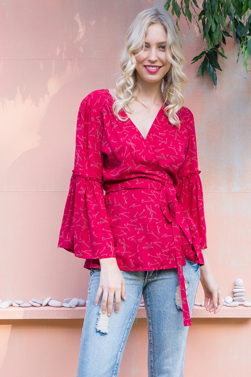 Monterey Heart Throb Red Wrap Top