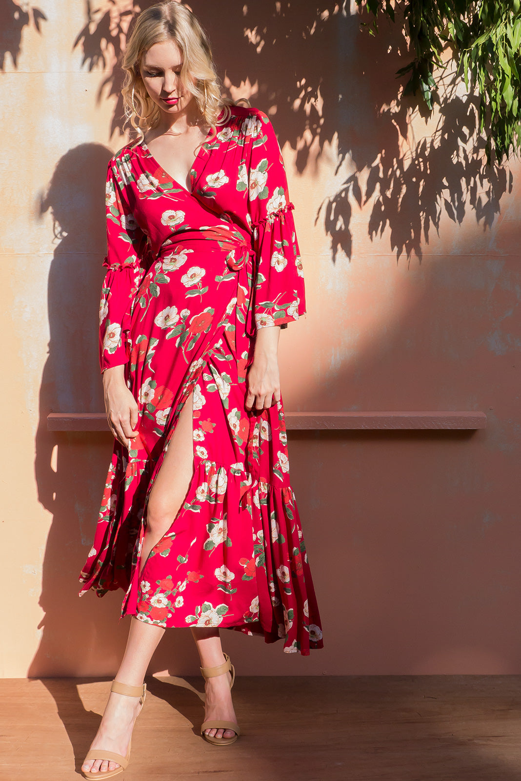Monterey Ruby Red Maxi Dress in a gorgeous bright red floral poppy print on woven rayon and the dress features a full frill sleeve