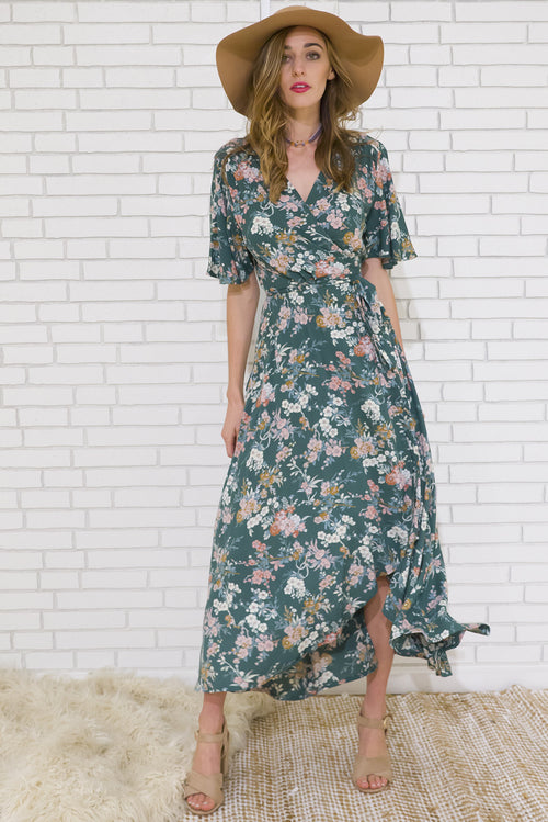 Musical Greenery Maxi Wrap Dress