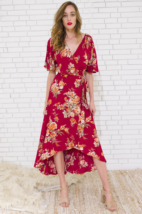 Musical Wine 'n' Roses Maxi Wrap Dress