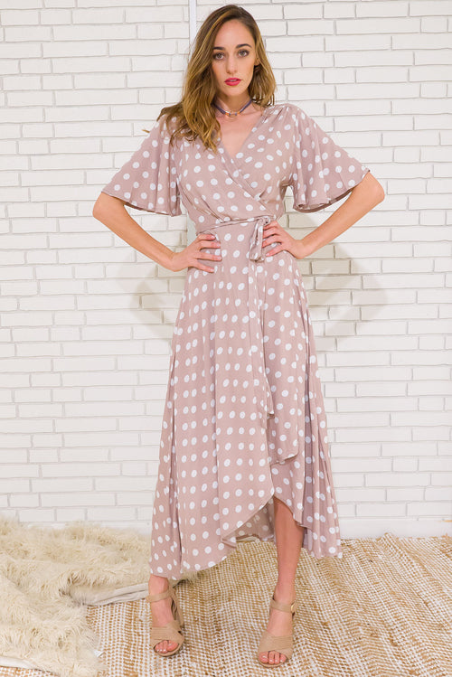 Musical Polkadot Maxi Wrap Dress