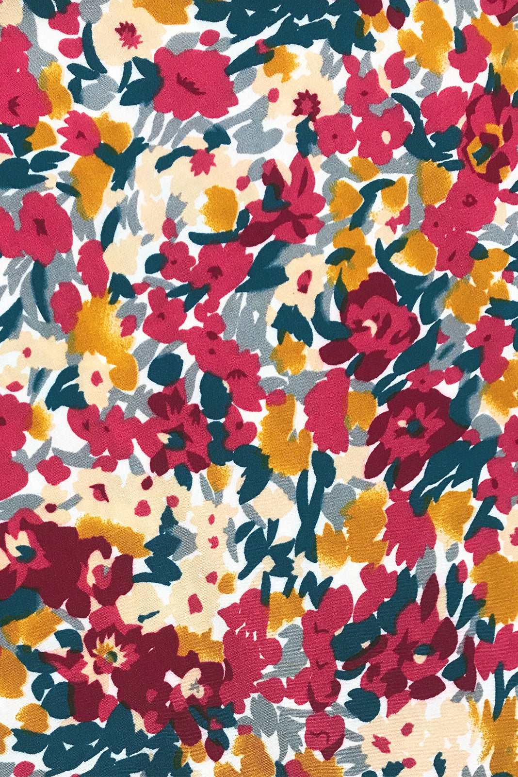 Fabric swatch of Narah Red Yves Maxi Skirt comes in woven 100% rayon in Vibrant multicoloured confetti floral print.