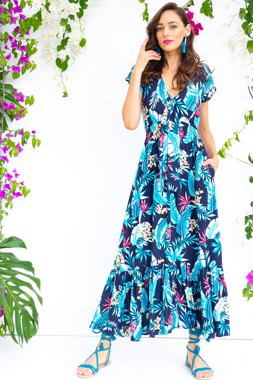 Nellie Azure Leaves Maxi Dress
