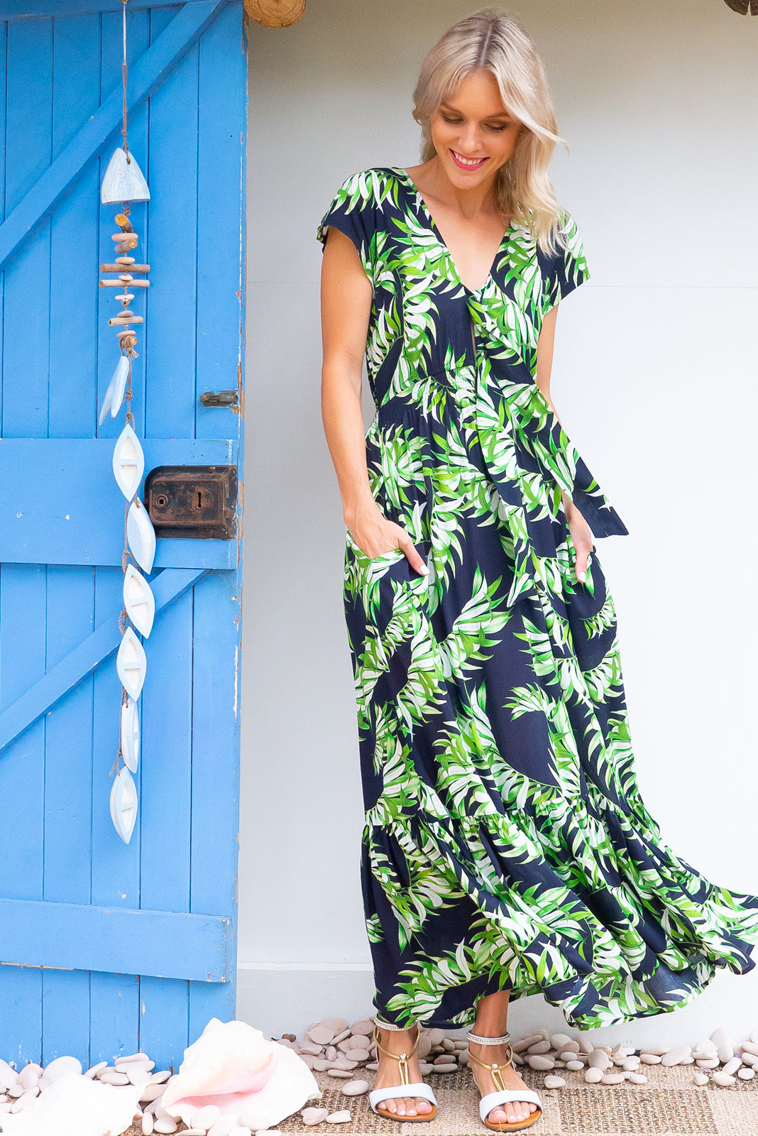 210b4444519c0 Nellie Palms Maxi Dress Maxi dress features elasticated empire line with a cap  sleeve and deep