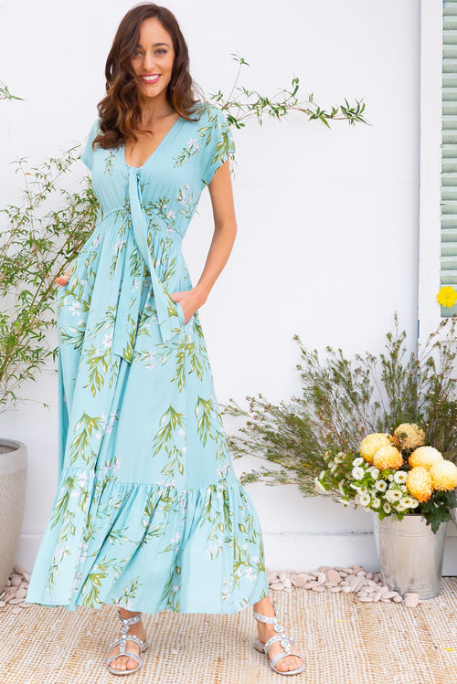 Nellie Snowdrop Aqua Maxi Dress