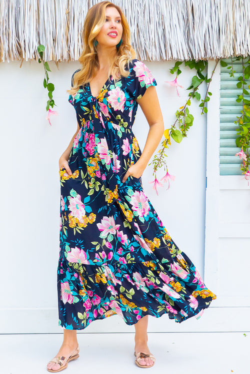 Nellie Waterlilly Navy Maxi Dress
