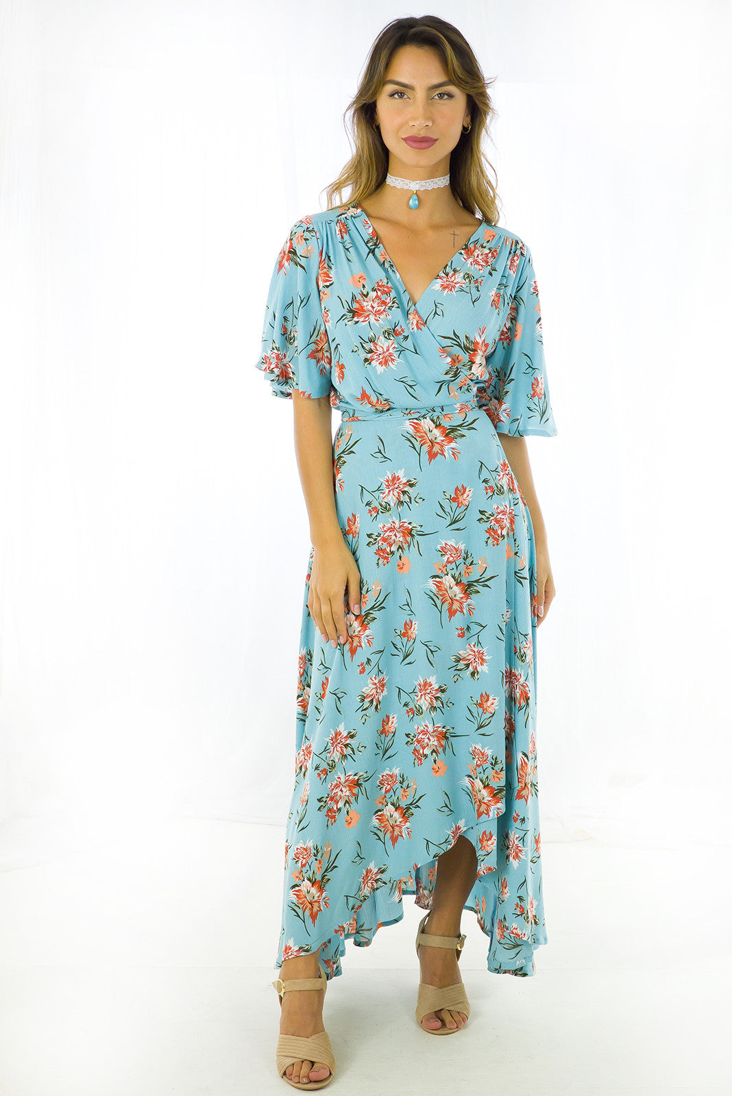 Wrap dress petal sleeve in tiffany blue maxi length