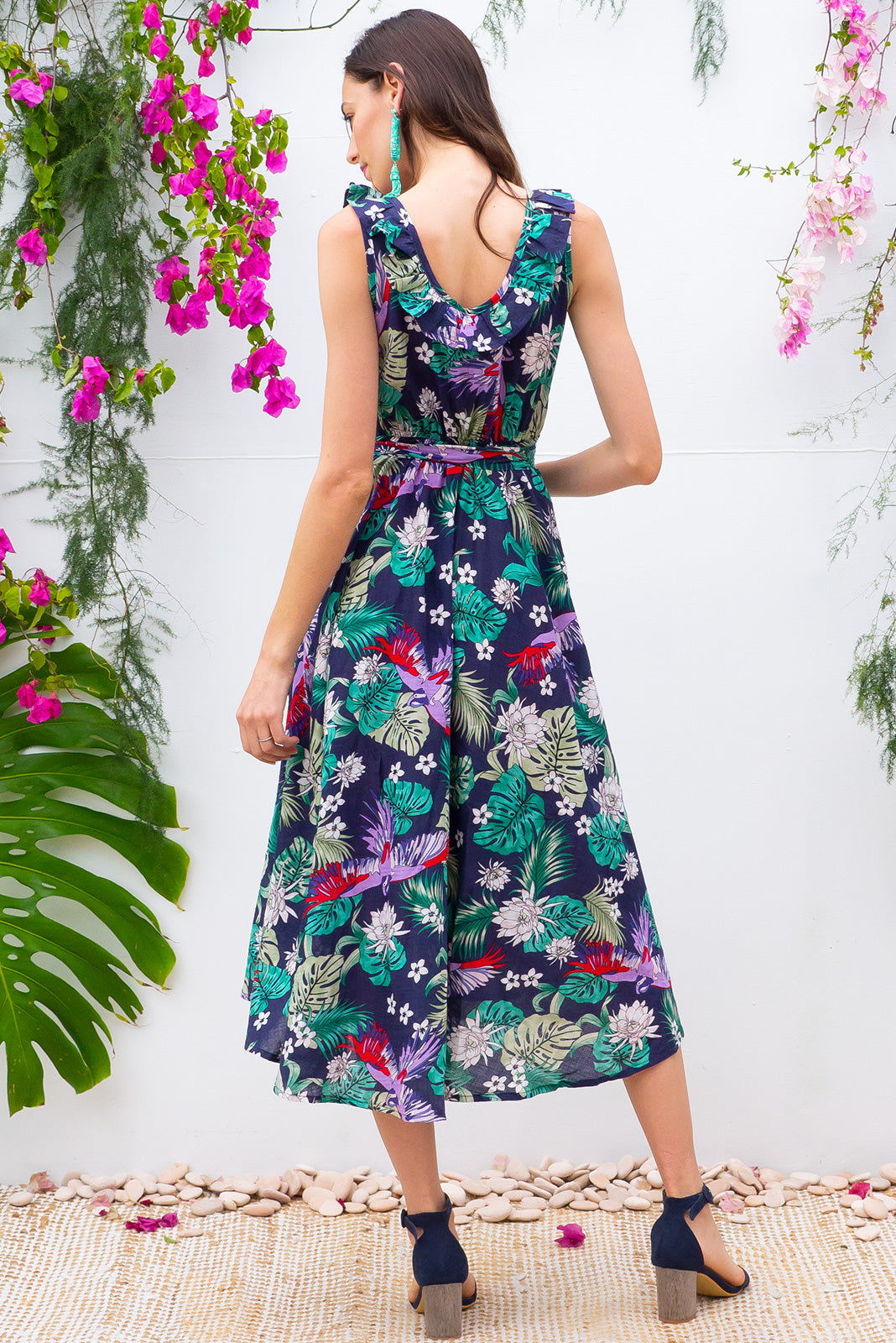 Pablo Amazonian Navy Wrap Dress, sleePablo Amazonian Navy Wrap Dress, sleeveless cotton wrap around dress in bright tropical print, adjustable so will fit plus sizesveless cotton wrap around dress in bright tropical print, adjustable so will fit plus sizes