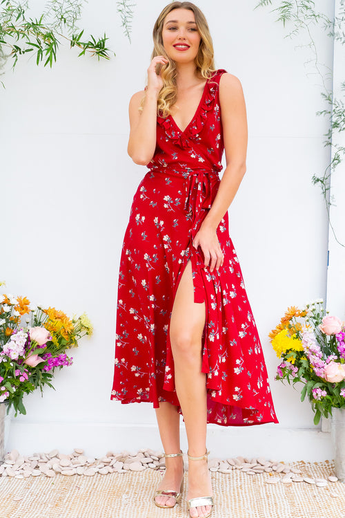 Pablo Red Fling Wrap Dress