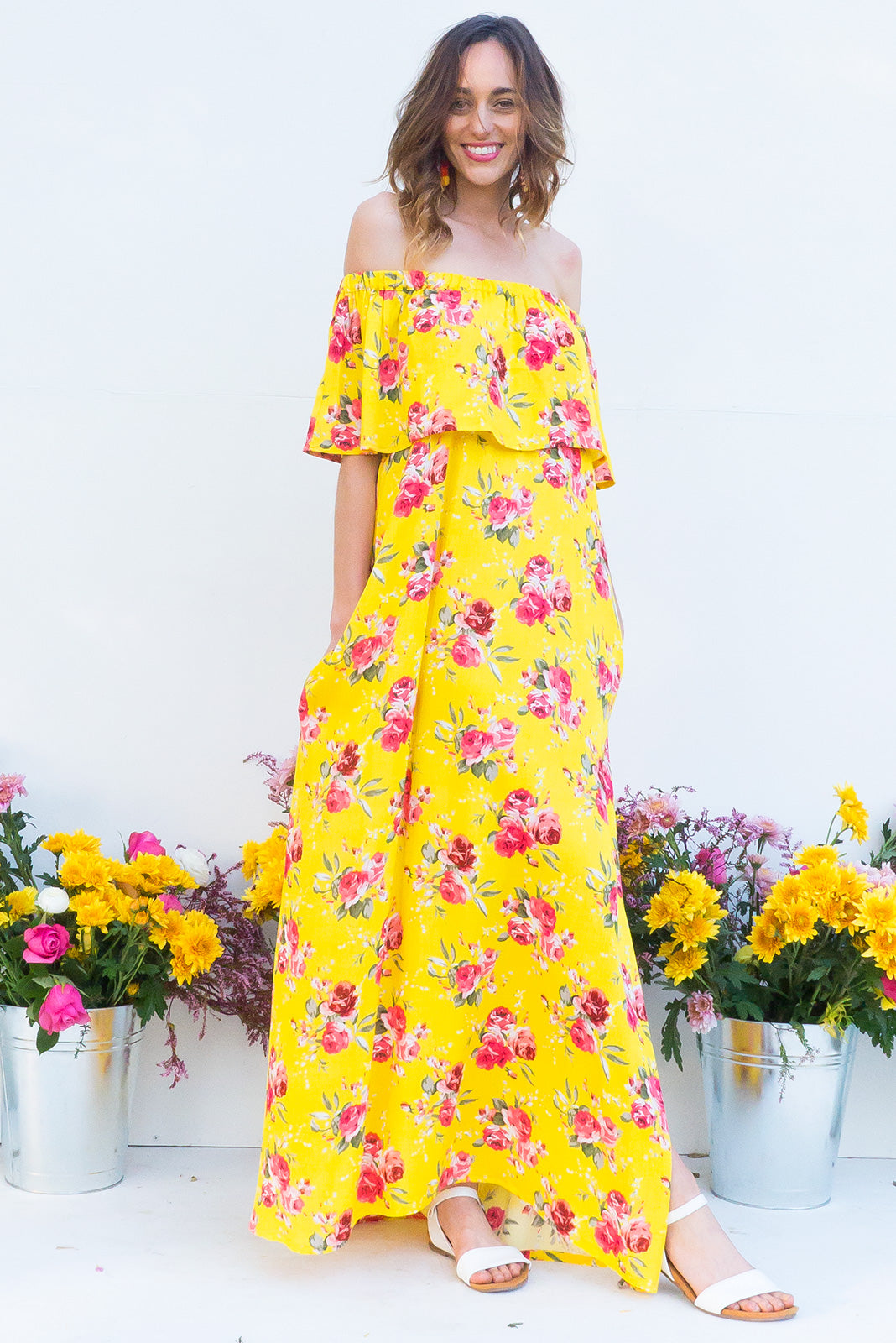 Pachanga Sunshine Yellow Off the shoulder red maxi dress with a frill in bright yellow floral print