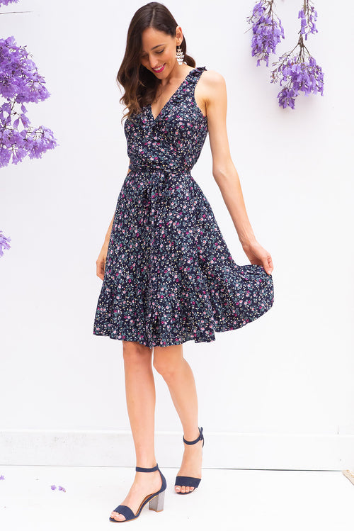 Paloma Dita Navy Wrap Dress Restocked