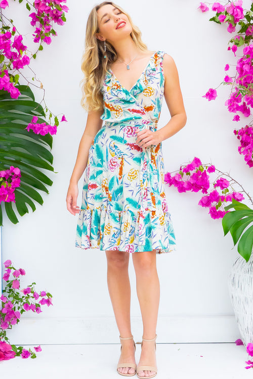 Paloma Porcelain Parrot Wrap Dress