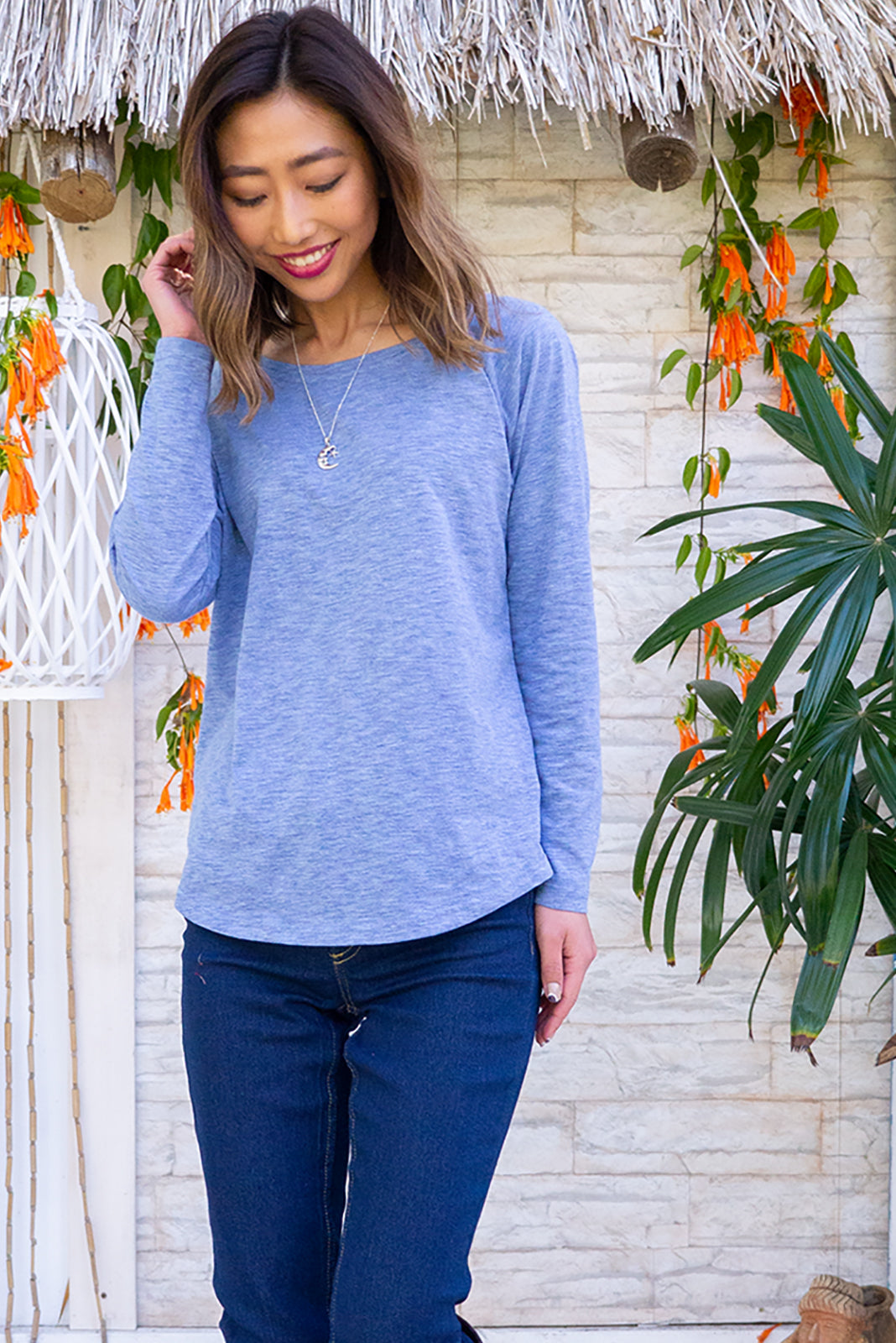 Pegasus Blue Tee is a classic blue tee shirt featuring knit 60% Cotton / 40% Polyester, long sleeve, curved hem.