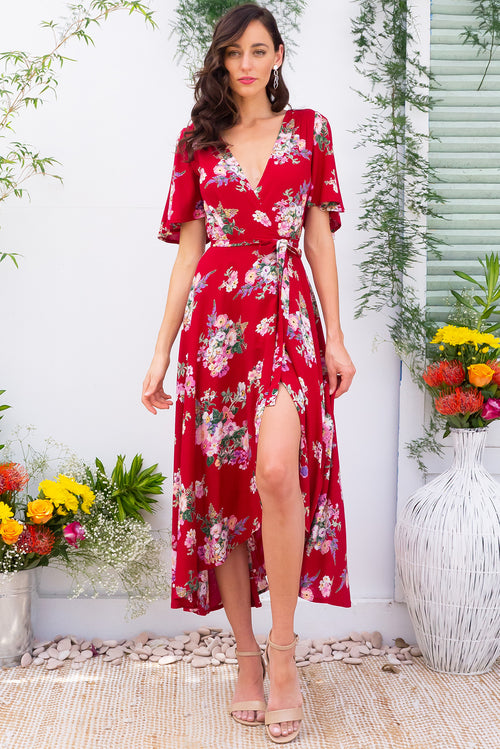 Penny Zinnia Maxi Wrap Dress