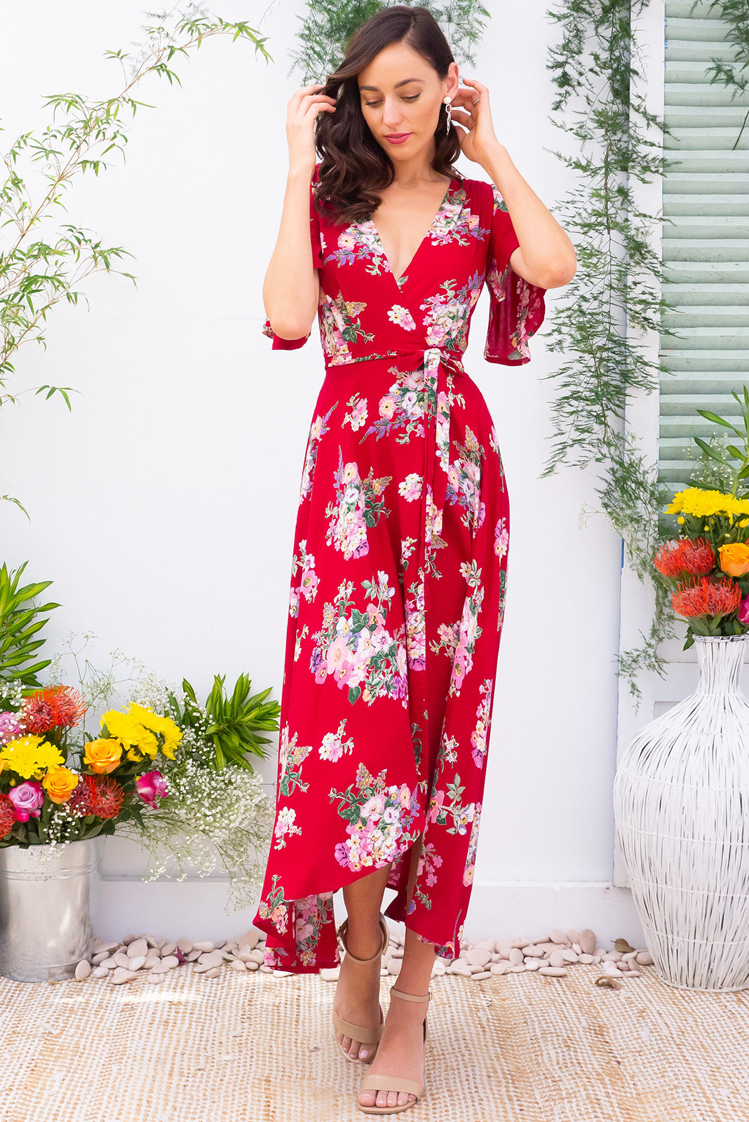 f8d41ed909c Penny Zinnia Maxi Wrap Dress dress with flutter sleeves in a bright red  floral bohemian print
