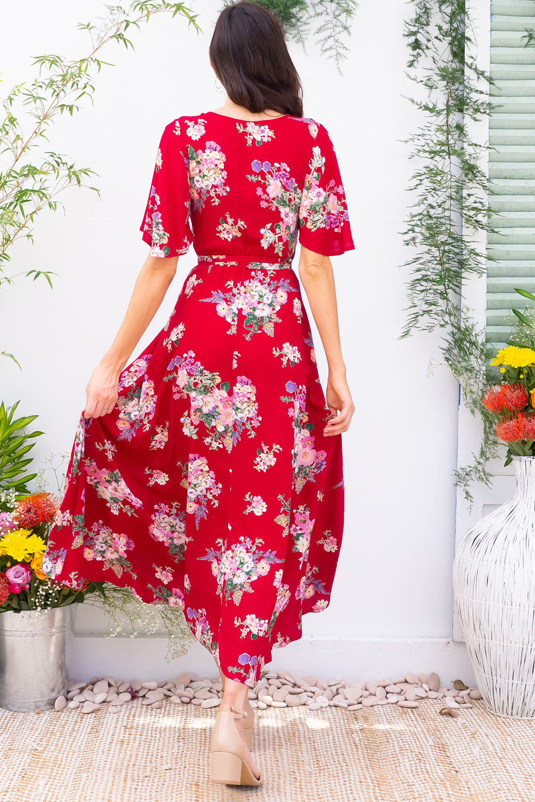 Penny Zinnia Maxi Wrap Dress dress with flutter sleeves in a bright red floral bohemian print on 100% rayon