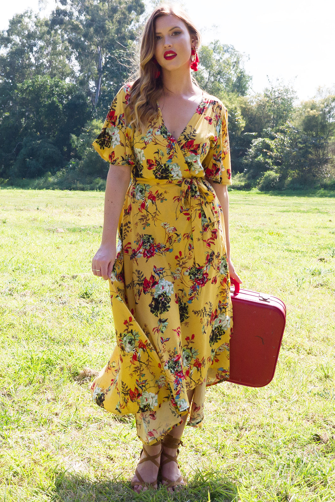 Petal Cambridge Gold Maxi Wrap Dress