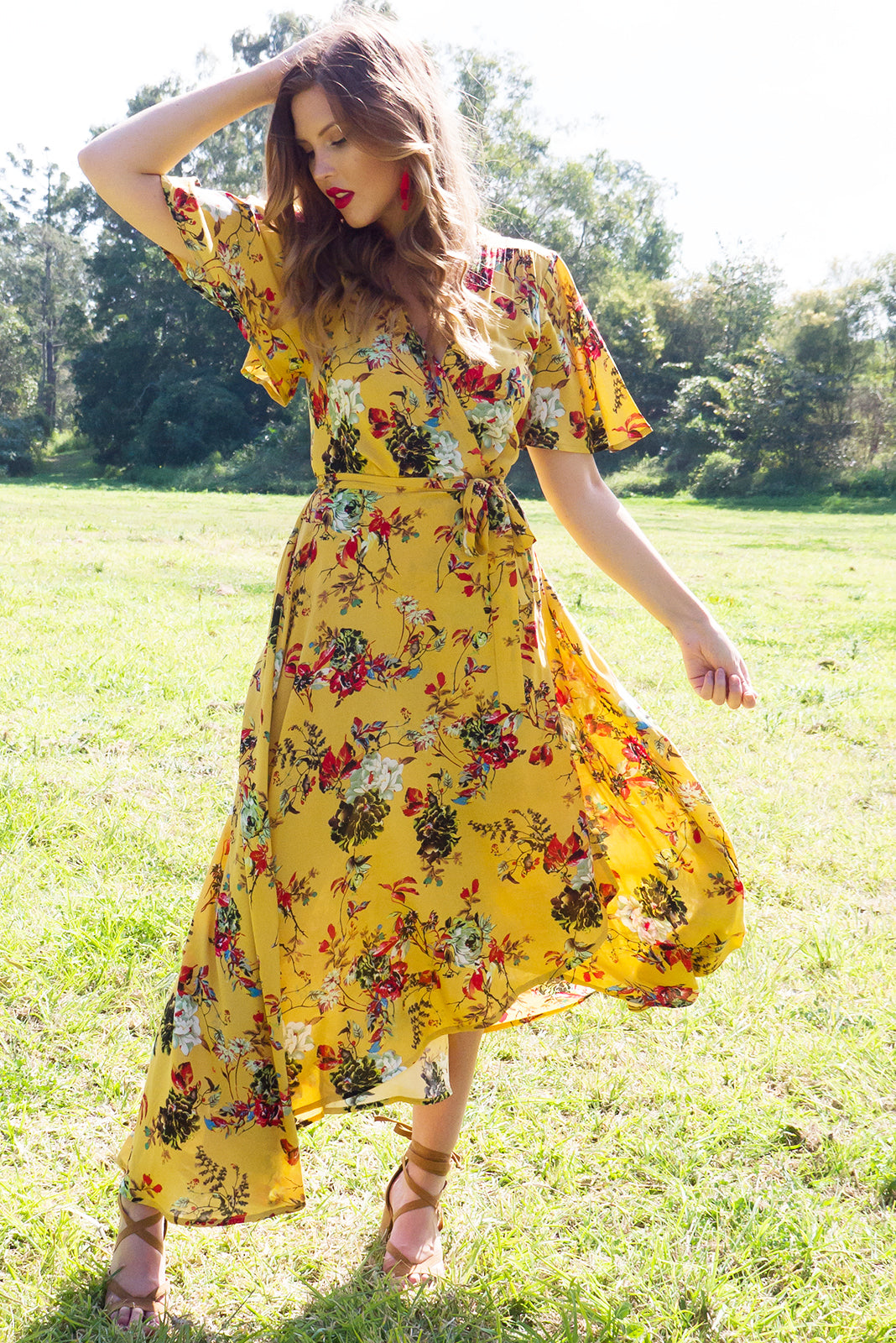 Petal Wrap Dress in golden yellow vintage floral print with flutter sleeves
