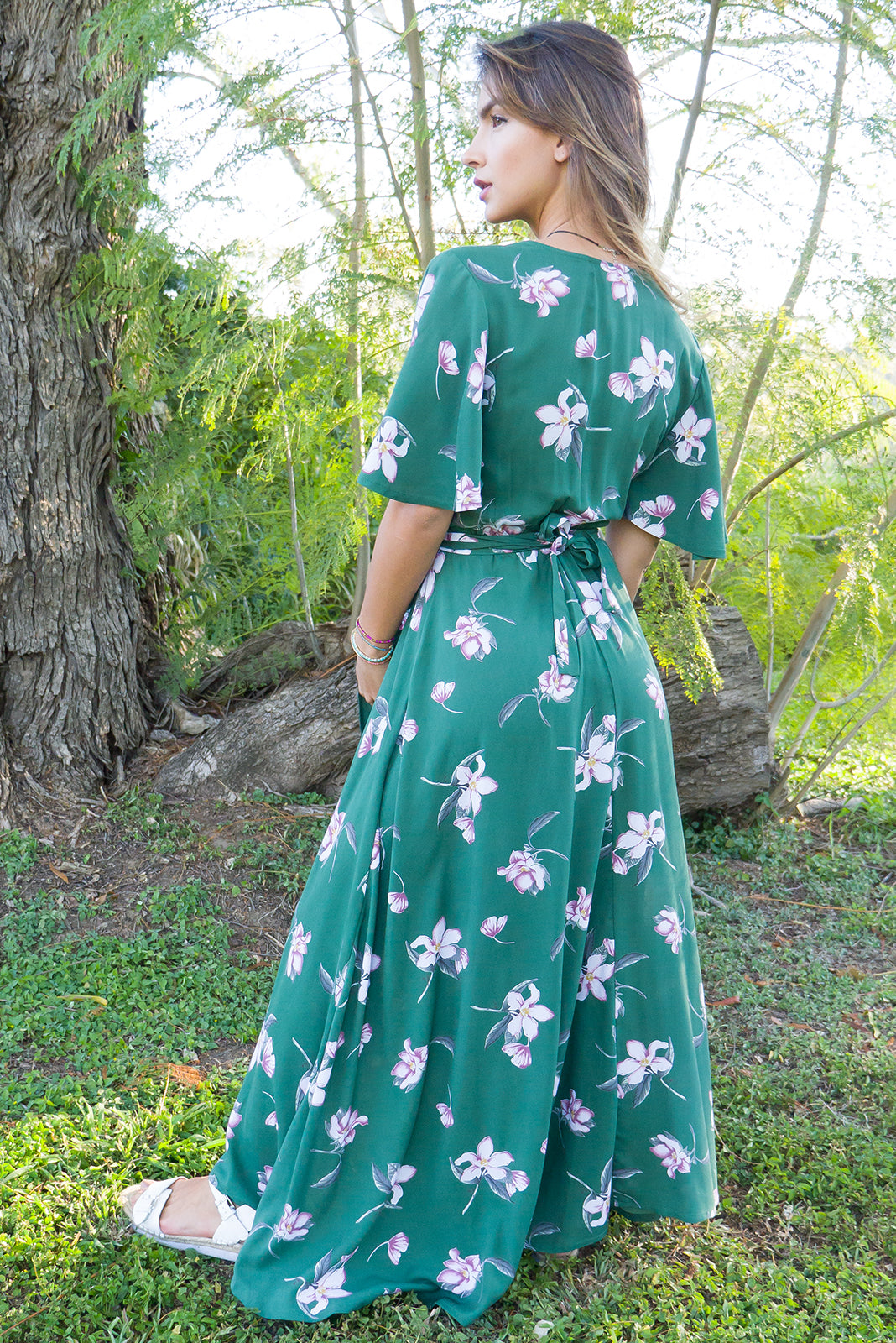 Petal Wrap Dress, in vintage green lilly print, with flutter sleeves, wrap around maxi dress, green wrap dress