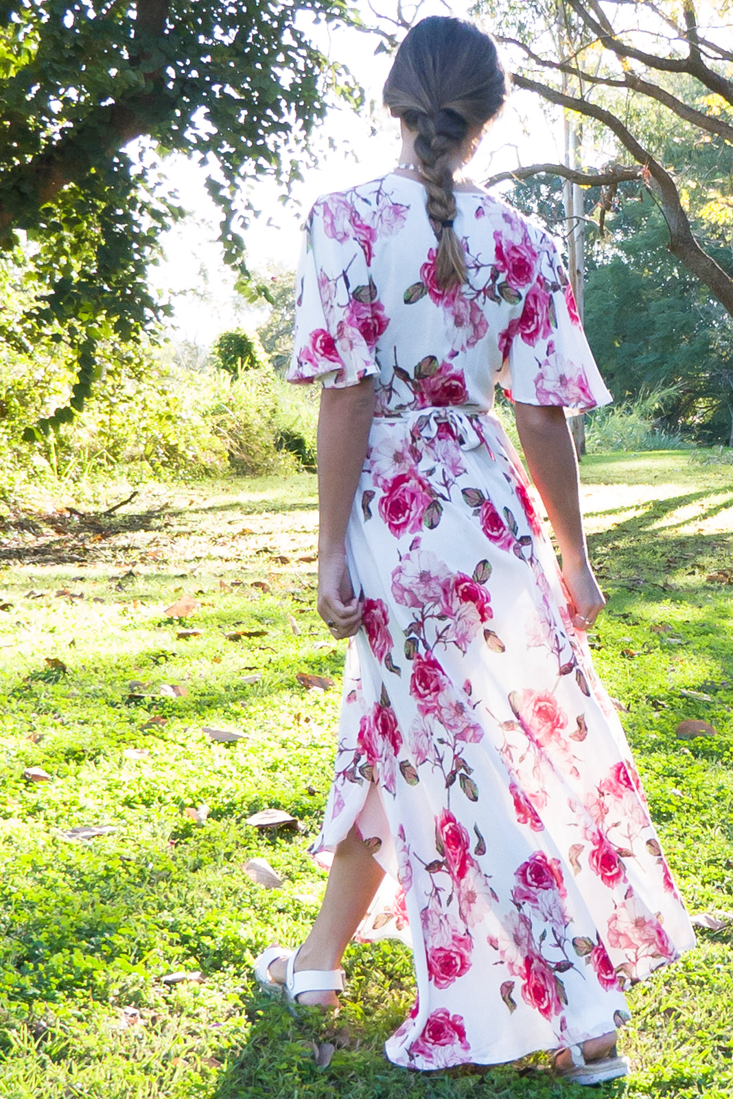 Petal Wrap Dress in Romantic Roses Print with flutter sleeve, wrap around maxi dress, floral wrap dress