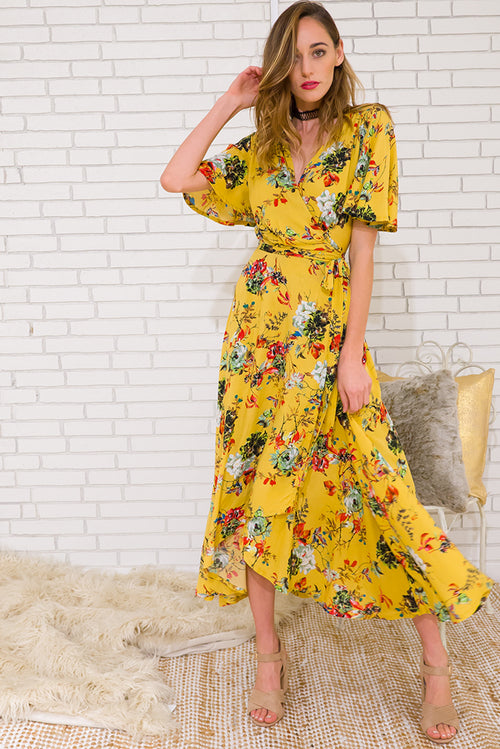 Petal Autumn Sun Maxi Wrap Dress