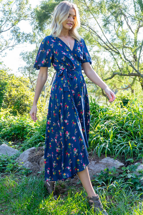 Petal Blue Elderberry Maxi Wrap Dress