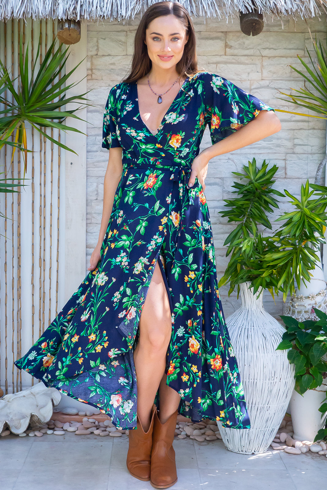 Petal Cotswold Navy Maxi Wrap Dress