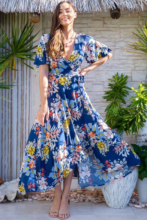 Petal Naviti Blue Maxi Wrap Dress
