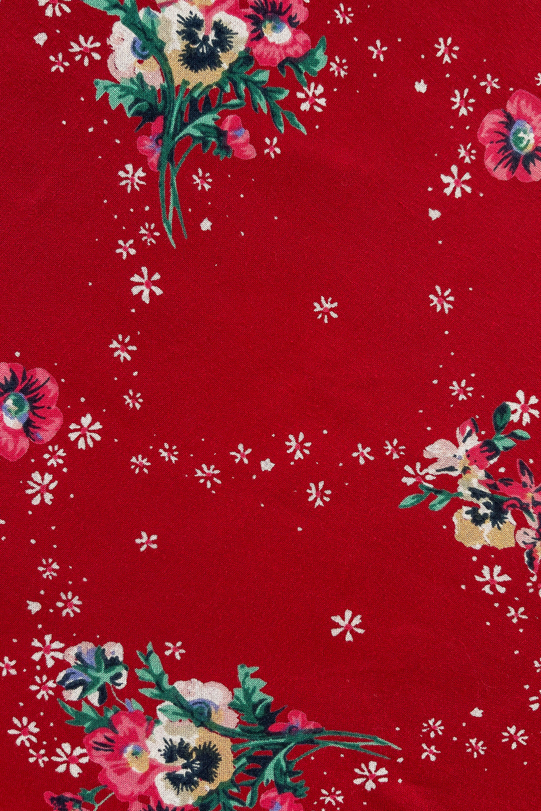 Fabric Swatch of Petal Red Pansy Maxi Wrap Dress featuring woven 100% rayon in bold red base with sweet floral print.  Edit alt text