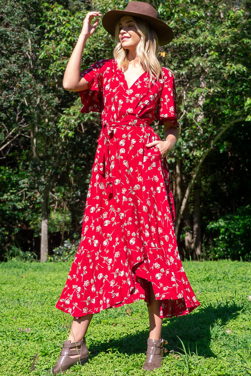 Petal Red Rosebud Maxi Wrap Dress