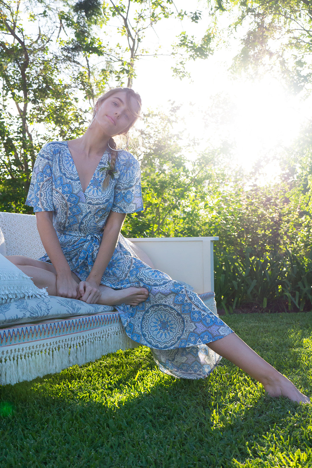 Petal Almeria Maxi Wrap dress with flutter sleeves in a soft sky blue paisley print
