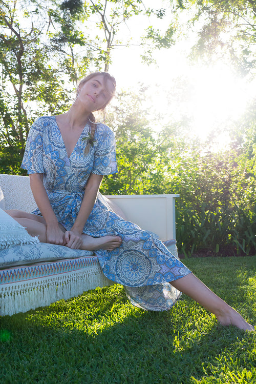 Petal Almeria Blue Maxi Wrap Dress